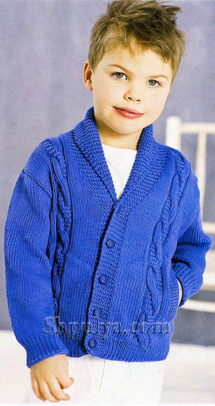 схемы вязания спицами для мальчиков джемпер на молнии