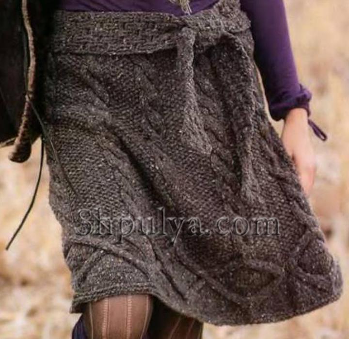 Связать пояс у юбки спицами