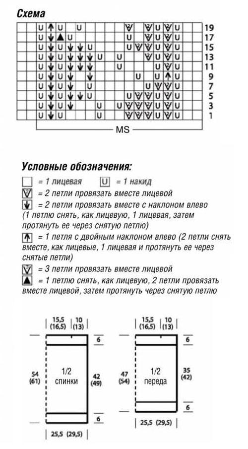 Схема вязания спинки на спицах 109